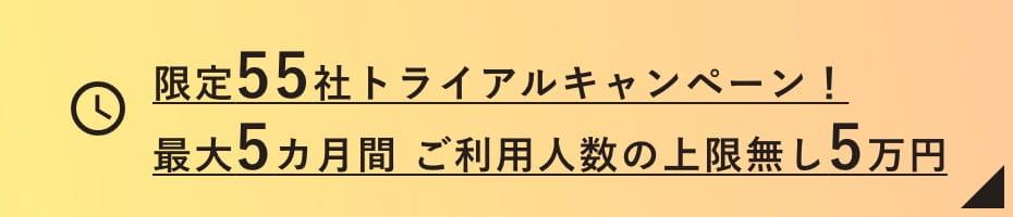 限定55社トライアルキャンペーン!最大5カ月間 ご利用人数の上限無し5万円